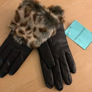 Leather gloves with 100% cashmere lining